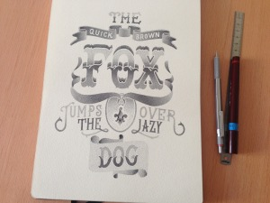 Lettering de Xavier Casalta; The quick brown fox jump over the lazy dog