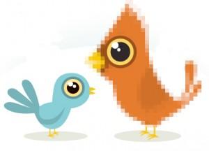 El pájaro azul está vectorizado. El naranja no, en cambio, su ojo sí. ¿Ves la diferencia?